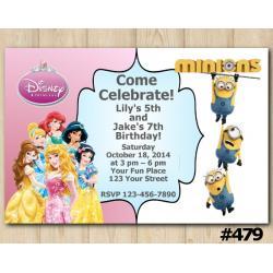 Twin Disney Princess and Minions Invitation