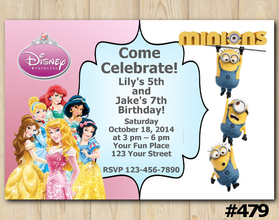Twin Disney Princess and Minions Invitation | Personalized Digital Card