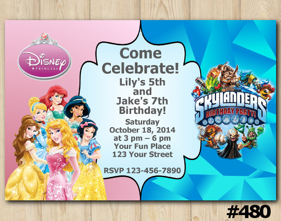 Twin Disney Princess And Skylanders Invitation