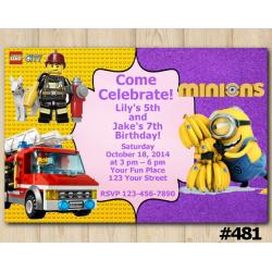 Twin Lego Duplo and Lego City Birthday Invitation Joint Twin