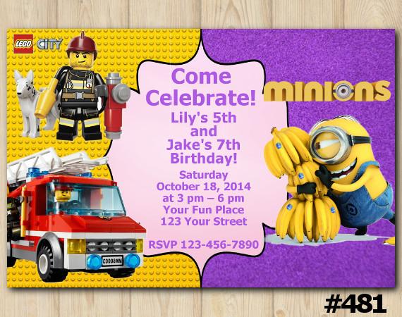 Twin Lego City and Minion Invitation | Personalized Digital Card