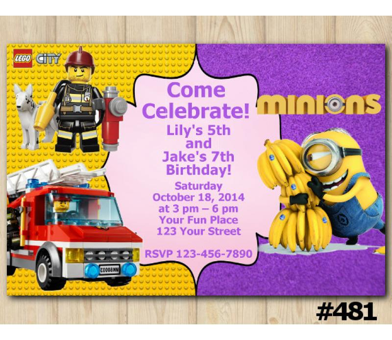 Twin Lego City And Minions Birthday Invitation Joint Twin