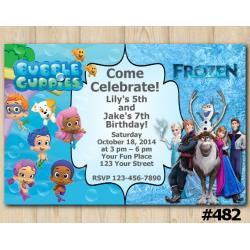 Twin Bubble Guppies and Frozen Invitation