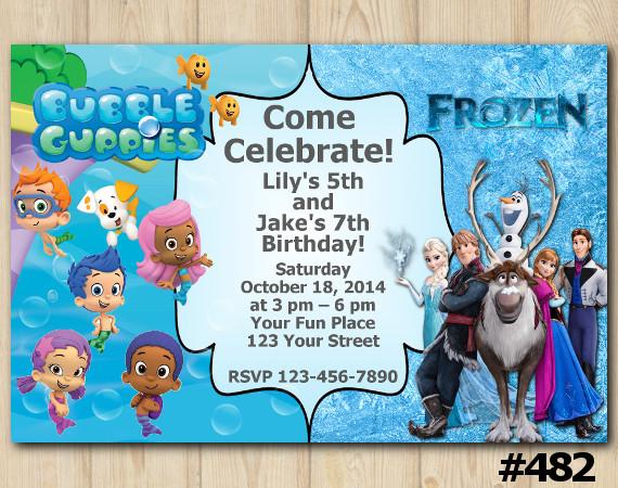 Twin Bubble Guppies and Frozen Invitation | Personalized Digital Card