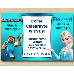 Twin Minecraft and Frozen Invitation