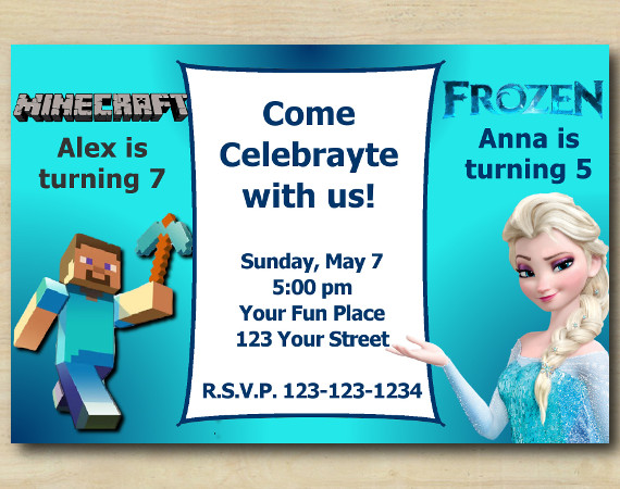 Twin Minecraft and Frozen Invitation | Personalized Digital Card