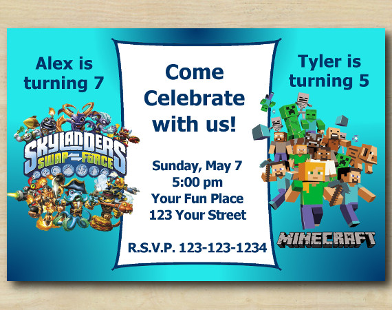 Twin Skylanders and Minecraft s Invitation | Personalized Digital Card
