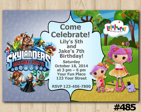 Twin Skylanders and Lalaloopsy s Invitation | Personalized Digital Card