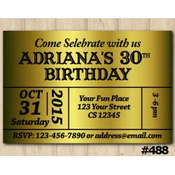 Adult Gold Bday Invitation
