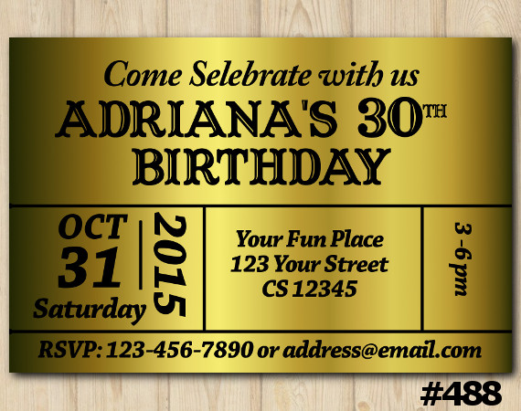 Adult Gold Bday Invitation | Personalized Digital Card
