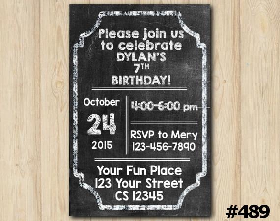 Chalkboard Invitation   Personalized Digital Card