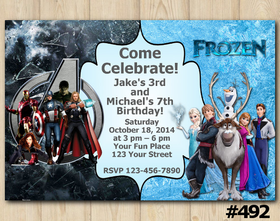 Twin Avengers and Frozen Invitation | Personalized Digital Card