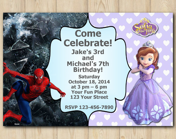 Twin Spiderman and Sofia the First Invitation | Personalized Digital Card