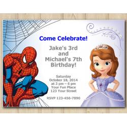 Twin Spiderman and Sofia the First Invitation
