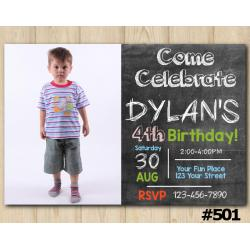 Chalkboard Birthday Invitation with Photo