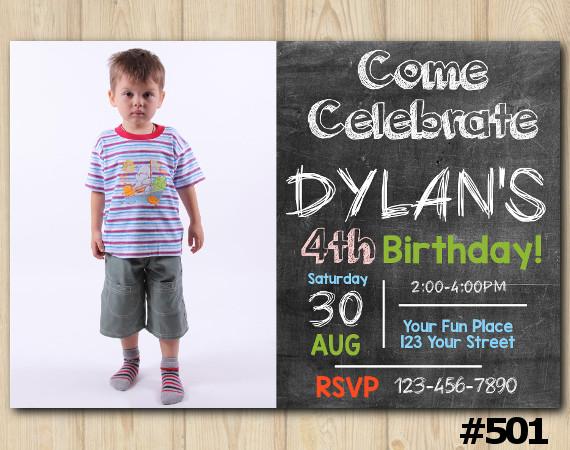 Chalkboard Birthday Invitation with Photo | Personalized Digital Card