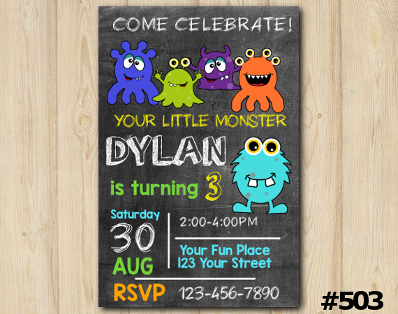 Monsters Invitation | Personalized Digital Card