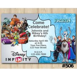 Twin Frozen and Disney Infity Invitation