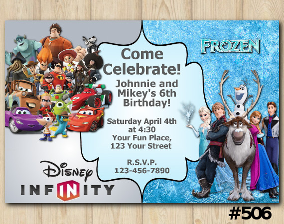 Twin Frozen and Disney Infity Invitation | Personalized Digital Card