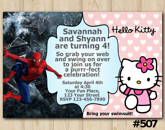 Twin Spiderman and Hello Kitty Birthday Invitation Joint Twin