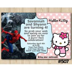 Twin Hello Kitty and Spiderman Invitation
