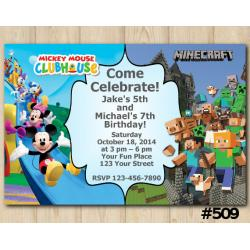 Twin Mickey Mouse and Minecraft Invitation