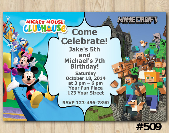 Twin Mickey Mouse and Minecraft Invitation | Personalized Digital Card