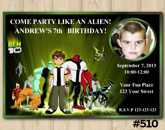 Ben10 Invitation with Photo   Personalized Digital Card