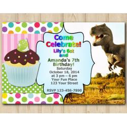 Twin Cupcake and Dinosaur Invitation
