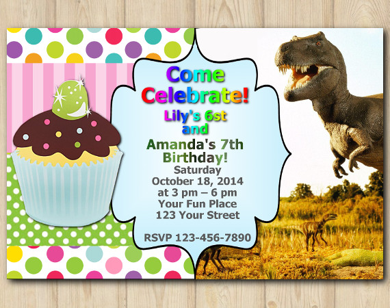 Twin Cupcake and Dinosaur Invitation | Personalized Digital Card