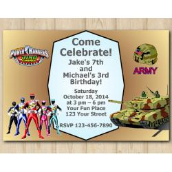 Twin Power Rangers and Army Invitation