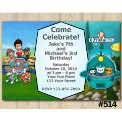 Octonauts Joint Twins Birthday Invitations DIY Printables