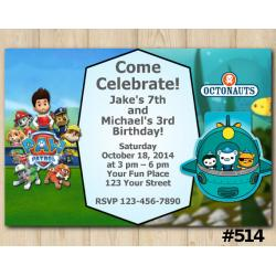 Twin Paw Patrol and Octonauts Invitation
