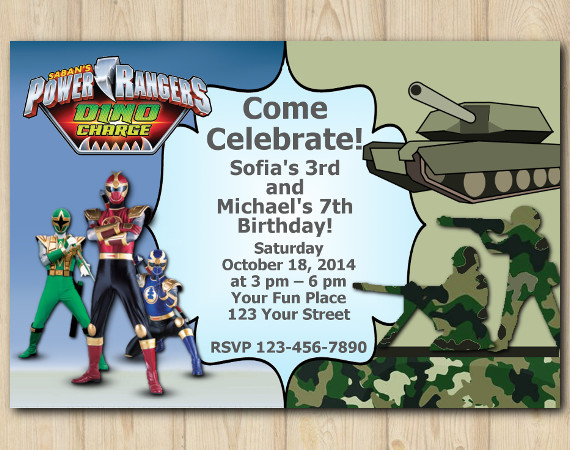 Twin Power Rangers and Army Invitation | Personalized Digital Card