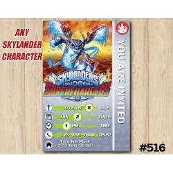 Skylanders Superchargers Game Card Invitation | Spitfire