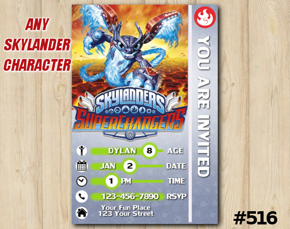 Skylanders Superchargers Game Card Invitation | Spitfire | Personalized Digital Card