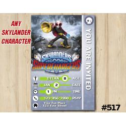 Skylanders Fiesta Superchargers Game Card Invitation | Fiesta