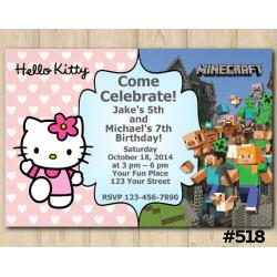 Twin Hello Kitty and Minecraft Invitation