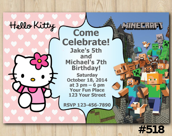 Twin Hello Kitty and Minecraft Invitation | Personalized Digital Card