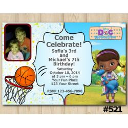 Twin Bascetball and Doc Mcstuffins Invitation with Photo