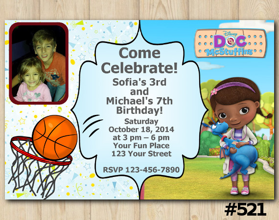 Twin Bascetball and Doc Mcstuffins Invitation with Photo | Personalized Digital Card