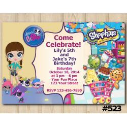 Twin Littlest Pet Shop and Shopkins Invitation