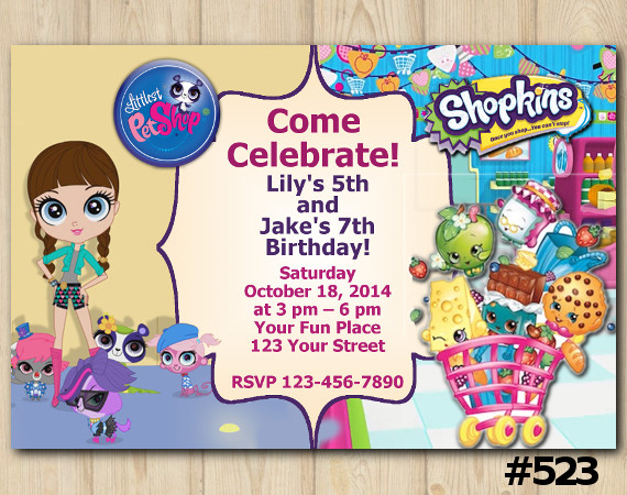 Twin Littlest Pet Shop and Shopkins Invitation | Personalized Digital Card