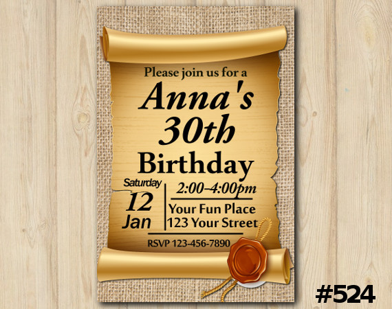 Adult Gold Invitation   Personalized Digital Card