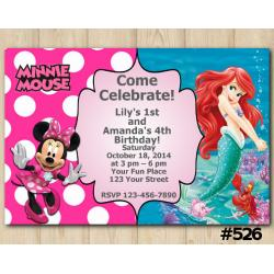 Twin Minnie Mouse and Ariel Invitation