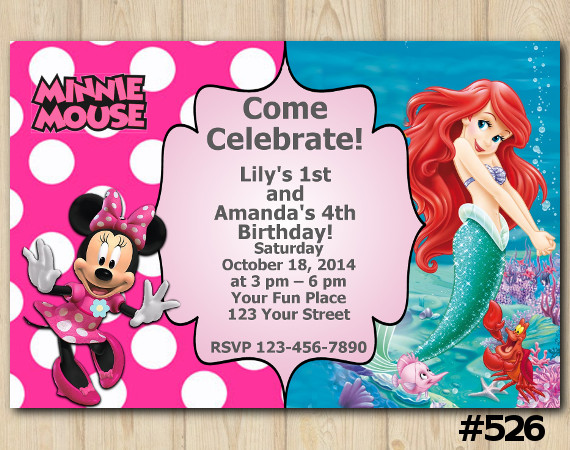 Twin Minnie Mouse and Ariel Invitation | Personalized Digital Card