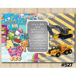Twin Shopkins and Construction Invitation