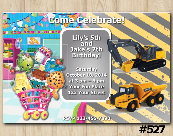 Twin Shopkins and Construction Invitation   Personalized Digital Card