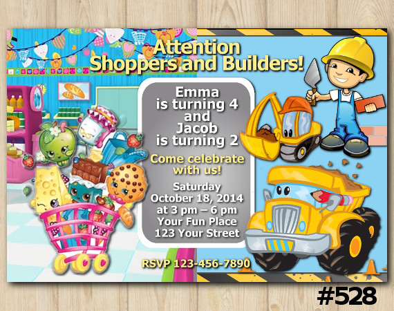 Twin Shopkins and Construction Invitation | Personalized Digital Card