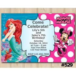 Twin Ariel and Minnie Mouse Invitation
